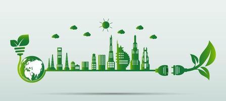 concepto de engranaje de ahorro ecológico y desarrollo de energía ambiental sostenible vector
