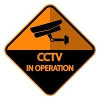 etiqueta de cámara cctv señal de videovigilancia negra vector