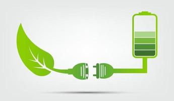 El concepto de tierra verde deja el emblema de la batería ecología vector