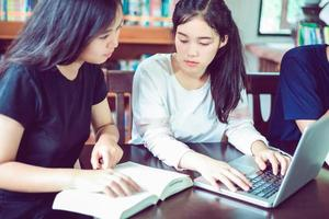 Two students studying together photo