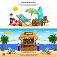 Summer Vacation Horizontal Banners Vector Illustration