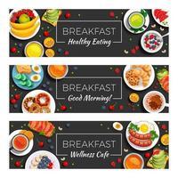 Breakfast  Horizontal Banners Vector Illustration