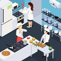 Home Staff Isometric Composition Vector Illustration