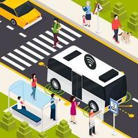 Autonomous Vehicle Isometric Composition Vector Illustration