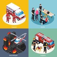 Ilustración de vector de concepto de diseño de equipo de rescate 2x2