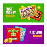 Lottery Online Banners Vector Illustration