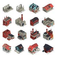 Abandoned Buildings Isometric Set Vector Illustration