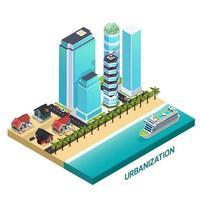 Urbanization Isometric Composition Vector Illustration