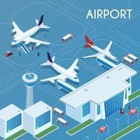 Airport Outdoor Isometric Illustration Vector Illustration