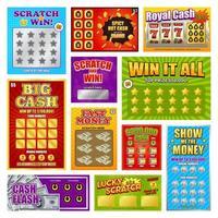 Scratch Win Cards Set Vector Illustration