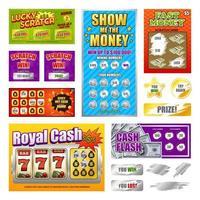 Scratch Lottery Cards Set Vector Illustration