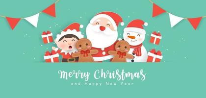 Happy Christmas background with Santa Claus and friends vector