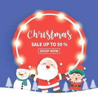 Christmas sale banner with Santa Claus vector