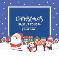 banner de venta de navidad con santa claus vector