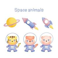 Watercolor Collection of hand drawn space animals vector