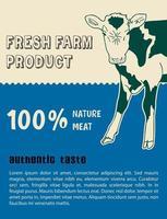 Animal Portrait Farm Grown Beef Steaks Banner vector