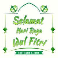 Greetings for idul fitr beautiful green vector