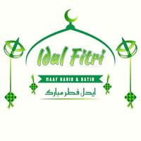 Beautiful idul fitr greeting messages vector