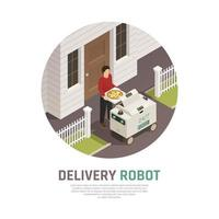 Automatic Food Delivery Background Vector Illustration