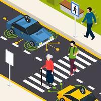 City Crosswalk Isometric Background Vector Illustration
