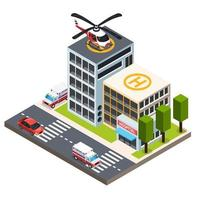 Emergency Isometric Composition Vector Illustration