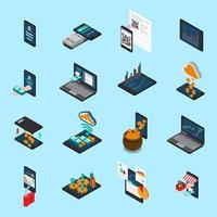 Financial Technology Isometric Icons Vector Illustration