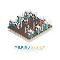 Milking Operation Factory Background Vector Illustration