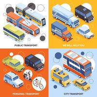 Transport Isometric Design Concept Vector Illustration