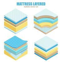 Bed Mattress Layers Orthopedic Set Vector Illustration