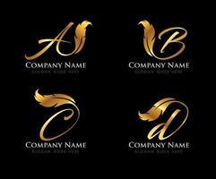 Golden Feather Monogram Initial Letter vector