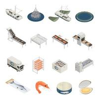 Fish Industry Icons Collection Vector Illustration