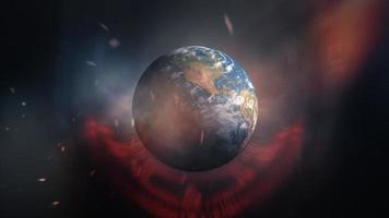 tecnologia futurista de luz de luz giratória de terra azul loop video