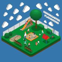Kindergarten Play Ground Isometric Composition Vector Illustration