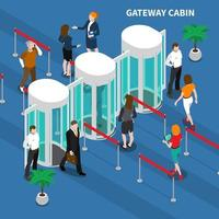 Gateway Cabin Access Identification Composition Vector Illustration
