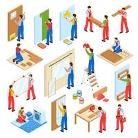 Home Repair Isometric Set Vector Illustration