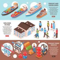 Sea Port Banners Set Vector Illustration
