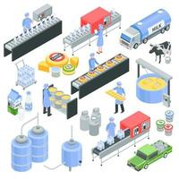 Dairy Factory Isometric Set Vector Illustration