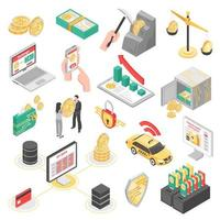 Crypto Currency Isometric Icons Set Vector Illustration
