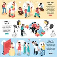Professional Photographer Isometric Banners Vector Illustration