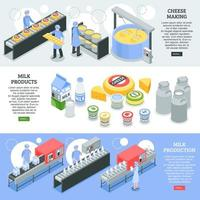 Milk Factory Isometric Banners Vector Illustration