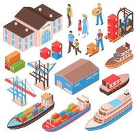 Sea Port Isometric Set Vector Illustration