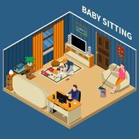 Baby Sitter Isometric Composition Vector Illustration