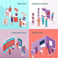 Exhibition Stands 2x2 Design Concept Vector Illustration