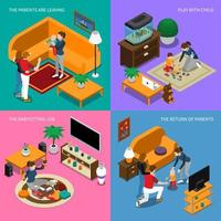Baby Sitter Isometric Concept Vector Illustration
