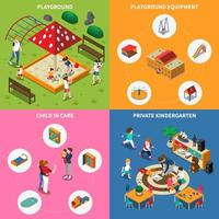 Kindergarten Play Ground Isometric Concept Vector Illustration