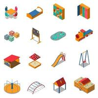Kindergarten Play Ground Isometric Icons Vector Illustration