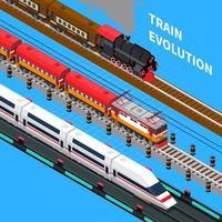 Ilustración de vector de composición isométrica de evolución de tren