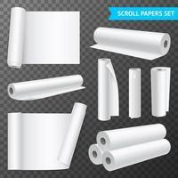 Clean White Paper Scrolls Set Vector Illustration