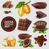 Realistic Cocoa Background Set Vector Illustration