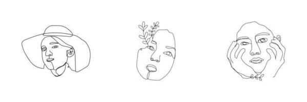 caras de mujeres en un estilo de arte de línea con flores y hojas arte de línea continua en un estilo elegante para impresiones tatuajes carteles tarjetas textiles, etc. vector